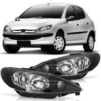 Farol-Peugeot-206-1999-2000-2001-2002-2003-2004-2005-2006-2007-2008-2009-2010-Mascara-Negra-Foco-Duplo