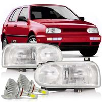 Par-Farol-Volkswagen-Golf-Mexicano-1995-1996-1997-1998-GLX-GTI-Foco-Duplo-Mascara-Cromada-com-Super-Led-HB4
