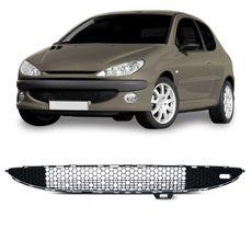 Grade-Central-Para-choque-Dianteiro-Peugeot-206-1998-1999-2000-2001-2002-2003-2004-Boquinha-Colmeia-com-Friso-Cromado