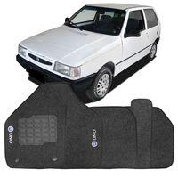 Tapete-Carpete-Fiat-Uno-1985-1986-1987-1988-1989-1990-1991-1992-1993-1994-1995-1996-1997-1998-1999-2000-2001-2002-2003-2004-2005-2006-2007-Logo-Bordado-2-Lados-Dianteiro-Logo-Azul-Grafite