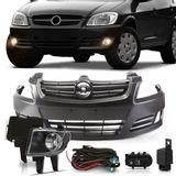 Kit-Chevrolet-Celta-Prisma-2007-2008-2009-2010-2011-Parachoque-Dianteiro---Kit-Farol-De-Milha-Auxiliar-Botao-Modelo-Original