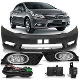 Kit-Honda-New-Civic-2012-2013-2014-Parachoque-Dianteiro---Kit-Farol-De-Milha-Auxiliar-Botao-Modelo-Original