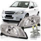 Par-Farol-Chevrolet-Celta-2007-2008-2009-2010-2011-2012-2013-2014-2015-Prisma-Mascara-Cromada-Com-Super-Led-H4