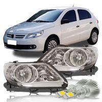 Par-Farol-Volkswagen-Gol-2008-2009-2010-2011-2012-Saveiro-Voyage-G5-Foco-Duplo-Mascara-Cromada-com-Super-Led-H1