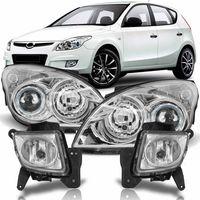 Combo-Hyundai-I30-2009-2010-2011-2012-Par-Farol-Mascara-Cromada---Par-Farol-de-Milha-Auxiliar