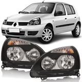Farol-Renault-Clio-2003-2004-2005-2006-2007-2008-2009-2010-2011-2012-Mascara-Negra