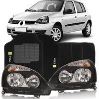 Combo-Clio-2003-a-2012-Par-Farol-Mascara-Negra---Tapete-Carpete-Preto-Logo-Bordado-2-Lados-Dianteiro