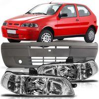 Kit-Fiat-Palio-G2-2001-2002-2003-2004-2005-Siena-Strada-Parachoque-Dianteiro-Original-Primer---Par-Farol-Principal-Carcaca-Preta