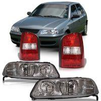 Kit-Volkswagen-Parati-G3-1999-2000-2001-2002-Farol-Mascara-Cromada-Foco-Duplo---Lanterna-Traseira-Bicolor-Fase-I