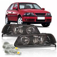 Par-Farol-Volkswagen-Gol-Parati-Saveiro-G3-1999-2000-2001-2002-2003-2004-2005-Foco-Duplo-Mascara-Negra-GIII-Com-super-Led-H1