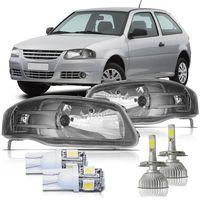 Par-Farol-Volkswagen-Gol-2006-2007-2008-2009-2010-2011-2012-2013-2014-Parati-Saveiro-G4-Mascara-Cinza-com-Super-Led-e-Pingo-Led