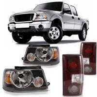 Kit-Ford-Ranger-2005-2006-2007-2008-2009-Farol-Moldura-Preta---Lanterna-Traseira-Bicolor
