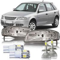 Par-Farol-Volkswagen-Gol-2006-2007-2008-2009-2010-2011-2012-2013-2014-Parati-Saveiro-G4-Mascara-Cromada-com-Super-Led-e-Pingo-Led