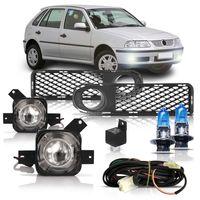 Kit-Farol-de-Milha-Auxiliar-Volkswagen-Gol-Parati-Saveiro-G3-1999-2000-2001-2002-Fase-1-Moldura-Com-Super-Branca