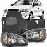 Combo-Corsa-Joy-Maxx-Hatch-Sedan-2008-2009-2010-2011-2012-Par-Farol-Mascara-Negra---Tapete-Grafite-Preto-Logo-Bordado-2-Lados-Dianteiro