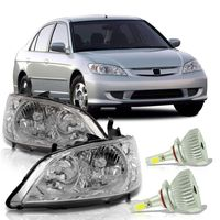 Par-Farol-Honda-Civic-2004-2005-2006-Mascara-Cromada-com-Super-Led-HB4