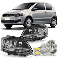 Par-Farol-Volkswagen-Spacefox-2011-2012-2013-2014-Fox-Crossfox-Mascara-Negra-Foco-Duplo-com-Super-Led-H1