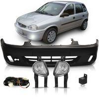 Kit-Chevrolet-Corsa-2000-2001-2002-Classic-Pickup-Para-choque-Dianteiro---Kit-Farol-de-Milha-Auxiliar-Botao-Universal