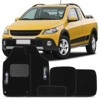 Tapete-Carpete-Preto-Volkswagen-Saveiro-Cross-G5-2009-2010-2011-2012-2013-Vulcanizado