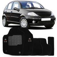 Tapete-Carpete-Preto-Personalizado-C3-2003-2004-2005-2006-2007-2008-2009-2010-2011-2012-Logo-Bordado-Citroen-2-Lados-Dianteiro