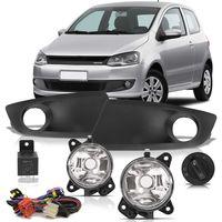Kit-Farol-de-Milha-Auxiliar-Volkswagen-Fox-2013-2014-com-Moldura-Botao-Redondo-Modelo-Original