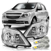 Kit-Chevrolet-Agile-Montana-2009-2010-2011-2012-2013-2014-2015-2016-Par-Farol-Mascara-Cromada---Super-Led-H1
