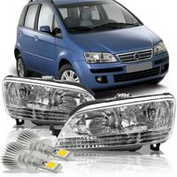 Par-Farol-Fiat-Idea-2006-2007-2008-2009-2010-Mascara-Cromada-Com-Super-Led-H1