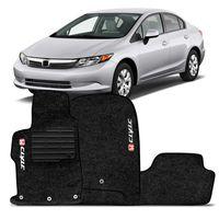 Tapete-Carpete-Civic-Preto-2012-2013-Logo-Bordado-Honda-2-Lados-Dianteiro