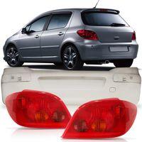 Kit-Peugeot-307-Hatch-2002-2003-2004-2005-2006-Para-choque-Traseiro-Primer---Par-Lanterna-Traseira-Rubi