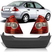 Kit-Ford-Fiesta-Sedan-2003-2004-2005-2006-2007-2008-2009-2010-Para-choque-Traseiro-Primer---Par-Lanterna-Traseira-Bicolor