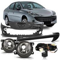 Kit-Peugeot-207-2008-2009-2010-2011-2012-Para-choque-Dianteiro---Almofada-Moldura-do-Para-choque---Kit-Farol-de-Milha-Auxiliar-Botao-Universal