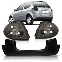 Kit-Ford-Ka-2008-2009-2010-2011-Para-choque-Traseiro-Liso---Par-Lanterna-Traseira-Fume