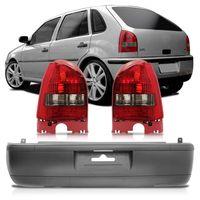 Kit-Volkswagen-Gol-G3-Fase-1-1999-2000-2001-2002-Para-choque-Traseiro-Original-Cinza---Par-Lanterna-Traseira-Fume