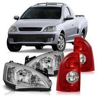 Kit-Chevrolet-Montana-2003-2004-2005-2006-2007-2008-2009-2010-Par-de-Farol-Mascara-Cromada-Pisca-Liso---Par-Lanterna-Traseira-Bicolor