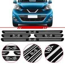 Jogo-Soleira-Resinada-De-Porta-Universal-Nissan-4-Pecas-Estreita-Preta-Com-Bandeira-Quadriculada