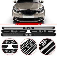 Jogo-Soleira-Resinada-De-Porta-Universal-Renault-4-Pecas-Estreita-Preta-Com-Bandeira-Quadriculada