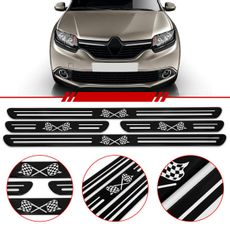 Jogo-Soleira-Resinada-De-Porta-Universal-Toyota-4-Pecas-Estreita-Preta-Com-Bandeira-Quadriculada
