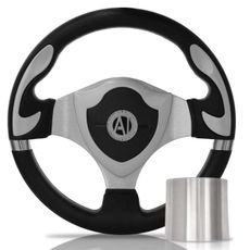 Volante-Esportivo-Muscle-Prata-320Mm-Com-Cubo-Volkswagen