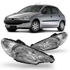 Farol-Peugeot-206-1999-2000-2001-2002-2003-Raiado-Mascara-Cromada