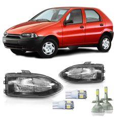 Kit-Palio-Siena-Strada-G1-1996-A2000-Par-Farol-Mascara-Negra---Super-Led-e-Pingo-T10-