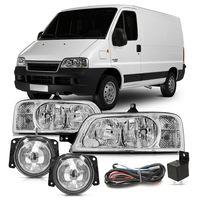 Combo-Fiat-Citroen-Peugeot-2005-A-2011-Par-Farol-Mascara-Cromada---Kit-Farol-De-Milha-Auxiliar-Botao