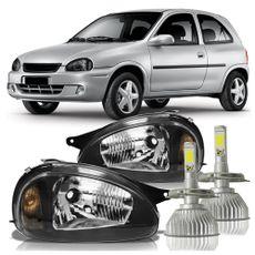 Par-Farol-Corsa-PickUp-1994-A-2002-Classic-2003-A-2010-Mascara-Negra-com-Super-Led-H4-6000K